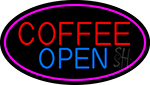 Red Coffee Open LED Neon Sign