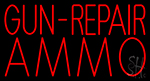 Red Gun Repair Ammo LED Neon Sign