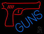 Red Guns Block LED Neon Sign