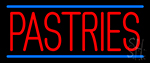 Red Pastries Blue Border LED Neon Sign