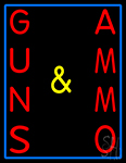 Vertical Guns And Ammo LED Neon Sign