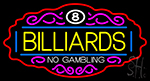 Billiards No Gambling 1 Neon Sign