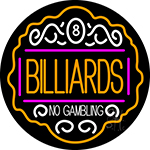 Billiards No Gambling 4 Neon Sign