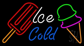 Ice Cold With Logo Cold Drink LED Neon Sign