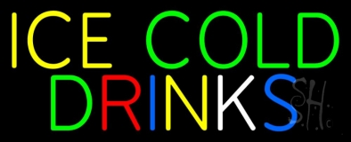 Multi Colored Ice Cold Drinks LED Neon Sign