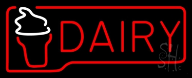 Red Dairy With Logo LED Neon Sign