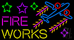 Fire Work Cartoon Logo 2 LED Neon Sign