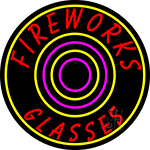 Fire Work Glasses 2 Neon Sign