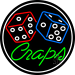 Green Craps Dice 1 LED Neon Sign