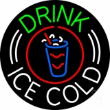 Round Drink Ice Cold LED Neon Sign