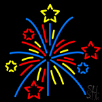 Multi Color Fire Works Neon Sign
