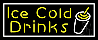 Yellow Ice Cold Drinks LED Neon Sign