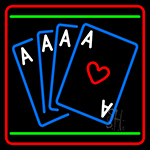 Poker Cards Icon 4 LED Neon Sign