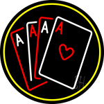 Poker Cards Icon 5 Neon Sign