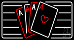 Poker Cards Icon 6 Neon Sign