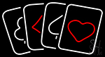 Poker Cards Icon Neon Sign