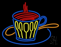 Coffee Glass With Spoon LED Neon Sign