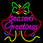 Seasons Greetings With Bell 2 LED Neon Sign
