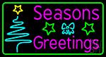 Seasons Greetings With Christmas Tree 2 LED Neon Sign