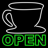 Double Stroke Coffee Cup Open LED Neon Sign