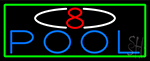 8 Pool With Green Border Neon Sign