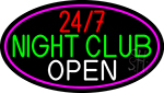 24 7 Night Club Oval With Pink Border Neon Sign