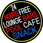24 Hours Free Lounge Bars Pool Cafe Snack Oval With Border Neon Sign
