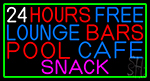 24 Hours Free Lounge Bars Pool Cafe Snack With Green Border Neon Sign