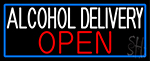 Alcohol Delivery Open With Blue Border LED Neon Sign