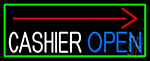 Arrow Cashier Open With Green Border LED Neon Sign