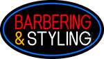 Barbering And Styling With Blue Border Neon Sign