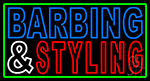 Barbering And Styling With Green Border Neon Sign