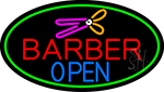 Barber Open With Green Border Neon Sign