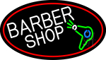 Barber Shop And Dryer And Scissor With Red Border Neon Sign