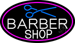 Barber Shop And Scissor With Pink Border Neon Sign