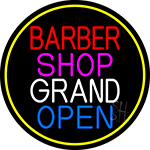 Barber Shop Grand Open With Yellow Border Neon Sign
