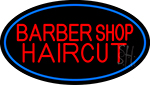 Barbershop Haircut With Blue Border Neon Sign