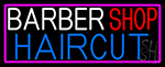 Barbershop Haircut With Pink Border Neon Sign