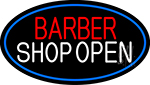 Barber Shop Open With Blue Border Neon Sign