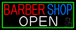 Barber Shop Open With Green Border Neon Sign