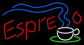 Espresso With Coffee Steam LED Neon Sign