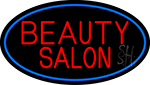 Beauty Salon Oval With Blue Border Neon Sign