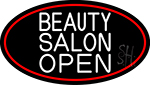 Beauty Salon Open Oval With Red Border Neon Sign