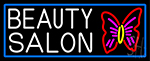Beauty Salon With Butterfly Logo With Blue Border Neon Sign