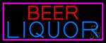 Beer Liquor With Pink Border Neon Sign