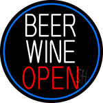 Beer Wine Open Oval With Blue Border LED Neon Sign