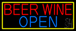 Beer Wine Open With Yellow Border LED Neon Sign