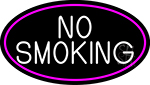 Block No Smoking Oval With Pink Border LED Neon Sign