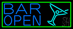 Blue Bar Open With Martini Glass LED Neon Sign