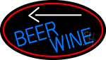 Blue Beer Wine Arrow Oval With Red Border LED Neon Sign